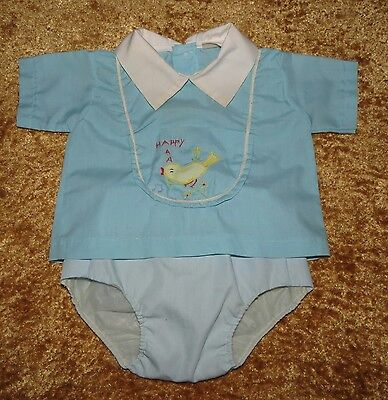 Sweet Vintage Baby Boys 2 Pc Plastic Lined Diaper Set Embroidered Bird Applique