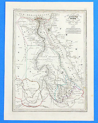 1846 Egypt Abyssinia Nubie Map Course of the Nile Arabia Original Hand-Colored