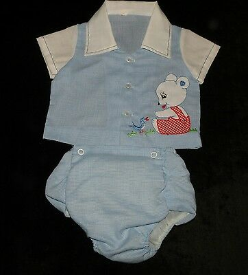 Sweet Vintage Baby Boys 2 Piece Plastic Lined Diaper Set 0-6M Vgvc