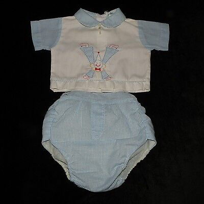 Sweet Vintage Tiny Tots Baby Boys 2 Piece Plastic Lined Diaper Set 0-6M Evc