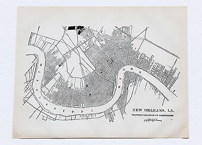 1884 New Orleans Louisiana Map Garden District Algiers French Quarter Cemeteries