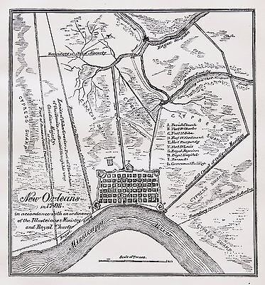 1798 New Orleans Louisiana Map royal Charter French Quarter Garden District