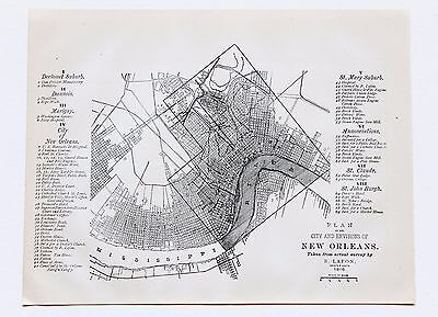 1884 New Orleans Louisiana Map 1816 French Quarter Garden District Railroads