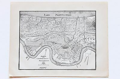 1849 New Orleans Louisiana Map French Quarter Garden District Railroads RARE