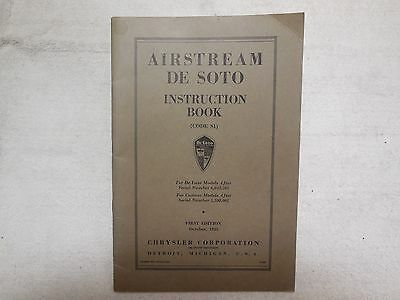 1935 Desoto Airstream Original Instruction Book S-1 excellent condition must see