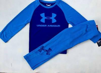 Boy's Size 4 Under Armour Blue Shirt & Pants Fall &winter Outfit Nwt