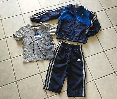 Toddler Boys Adidas Blue/Gray 3Pc Tracksuit Outfit Jacket Pants & Shirt Size 2T