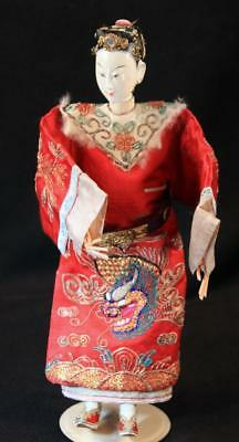 "Antique Chinese Mandarin Opera Puppet Silk Embroidered Dragon Robe 10 1/2"" Doll"