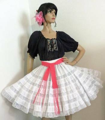 Mexican Fiesta Black White Lace Square Dance Costume Blouse Skirt Dress S M L