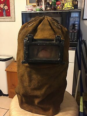Vintage Leather Welding Hood With Goggles Retro