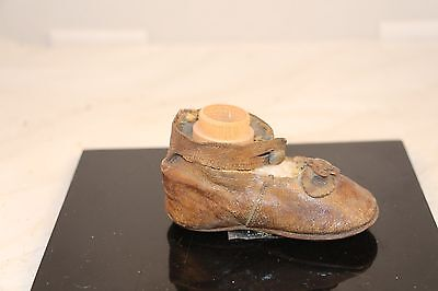 Antique 1800's Leather Baby Shoe With Family History