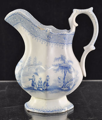 Antique Staffordshire Blue Transfer Milk Jug 1850