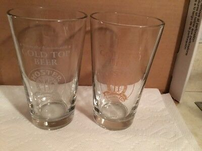 Hoster Brewing Co Gold Top Beer Set Of 2 Pint Beer Glasses, Columbus, OH
