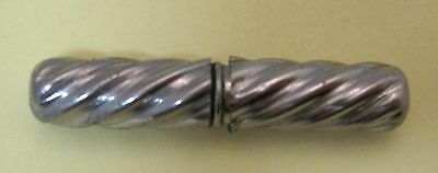 Vintage Silver Metal Needle Holder 1 3/4 inches Twisty Tiny & Cute OLD! T22