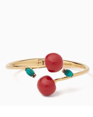 Brand New Authentic Kate Spade MA CHÉRIE CHERRY OPEN HINGED CUFF Bangle RRP $129
