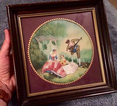 RARE Vintage Victorian needlepoint FRAMED 1860's ? Hand painted WOMEN + Guitar