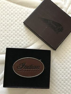 $40 Indian motorcycle embossed leather belt buckle