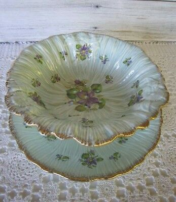 Beautiful Vintage Crown Ducal serving bowl and plate -  Embossed Blue Violets