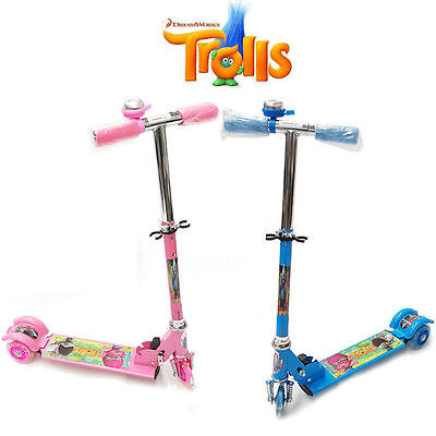 Trolls Movie Foldable Scooter Toddler Kid Push Kick 3 Wheel Ride On Toy