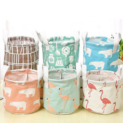 Cotton Linen Flamingo Storage Basket Foldable Hanging Basket Home Organizier