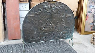 Antique Vintage Brass Fireplace Fire Cover Shield Screen