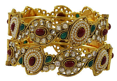 Engagement & Wedding Bridal & Wedding Party Jewelry Cheap Price Goldtone Ethnic Cz Stone Screw Lock 2pc Kada Bangle Set Bracelet Party Jewellery Attractive Designs;
