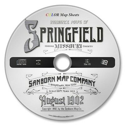Springfield,  Missouri 38 Color Sanborn Maps Sheets Year 1902 on New CD