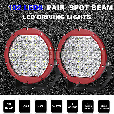 Pair 10inch Driving Lights Round CREE LED Work Spot lights RED Offroad 4WD Truck