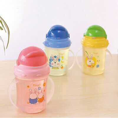 Baby Feeding Bottle Straw Cup Drinking Bottle Sippy Cups Handles random color