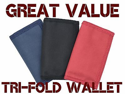 Mens Boys Canvas Wallet Trifold Sports Cycling Running Plain Red Black Navy