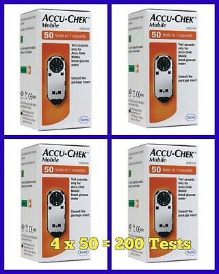 Accu-Chek Mobile Blood Glucose Diabetic Test Strips/Cassettes x 4 -NEW -RRP £160