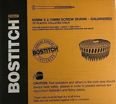Bostitch 15 Degree Galvanised Dome Head Decking Nails 65mmx2.70mm 1600 Pcs
