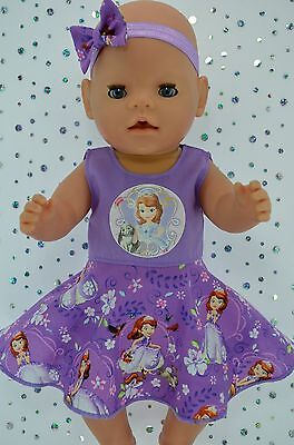 "Play n Wear Doll Clothes To Fit 17"" Baby Born LILAC CIRCLE DRESS~HEADBAND"