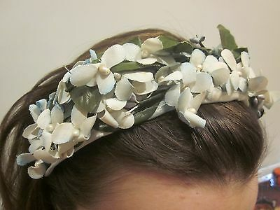 vintage retro FLOWER HEAD BAND  blue fabric flowers, pearl centres, green leaves