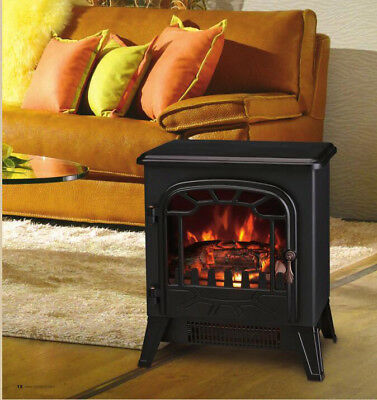 1850W Electric Fireplace Log Burning Flame Effect Stove Living Room Modern