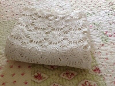 Beautiful Vintage Large  Antique White Crochet Lace Tablecloth 165 X 120 Cms
