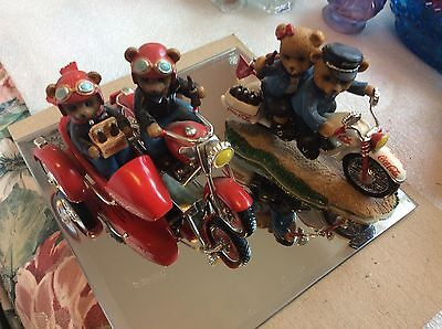 """Hamilton Collection """"On the Go with Coca-Cola"""" Two Motorcycle Bears Figurines -"""