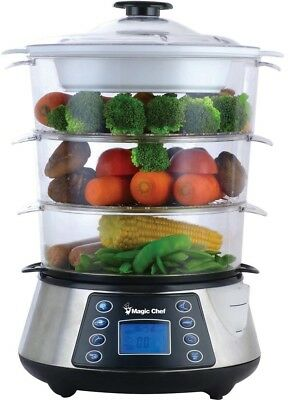 Magic Chef Food Steamer Electric Cooker 3 Tier Counter top 12 Qt.Stainless Steel