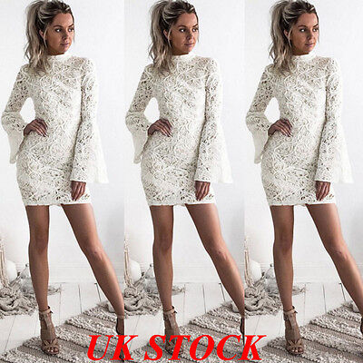 UK Women Ladies Long Sleeve Bodycon Party Evening Cocktail Short Lace Mini Dress