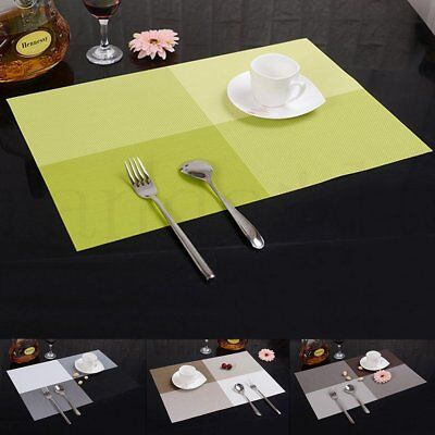 4PCS PVC Rectangle Placemats Insulation Kitchen Tableware Pad Mat Dining Room