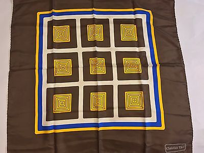 Christian Dior 1970's Vintage Authentic Geometric Silk Hand Rolled Edge Scarf