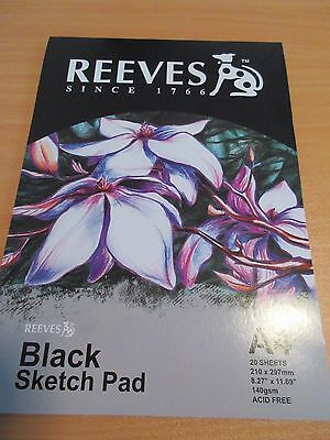 Reeves A4 Black Paper Sketch Pads 140gsm 20 sheets - 0312520 free postage
