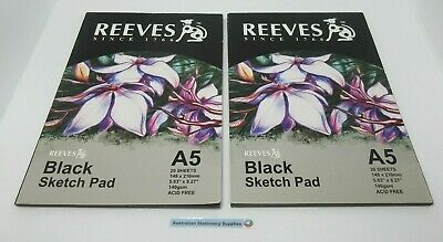 Reeves A5 Black Paper Sketch Pads 140gsm 20 sheets - 0312510 (HC)