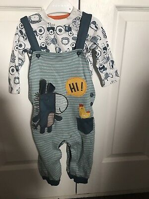 NEW WITHOUT TAGS NUTMEG BABY Boy DUNGAREE 2piece Outfit  3-6 Months Farmyard