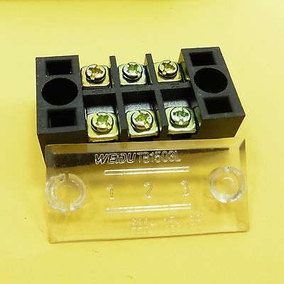 600V 15A 3 Positions Fixed Terminal Block Box Double Rows Barrier Screw Strip