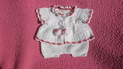 "Hand Made Crochet Jacket and Pants for reborn dolls size 20""- 22""."