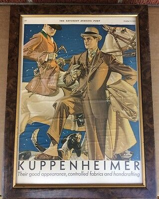 1930 Kuppenheimer Man riding horse w/ dogs & Well dressed Man w/field glasses ad