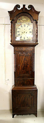 A Mahogany Flamed Veneered Grandfather Clock Signed G Barker. Leeds