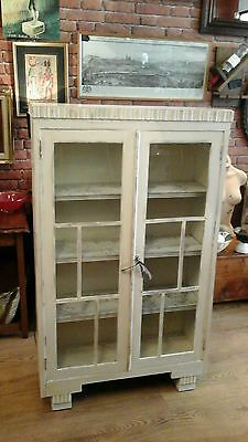 Victorian Glazed Country Cream Painted Floor Cabinet With Papered Shelves