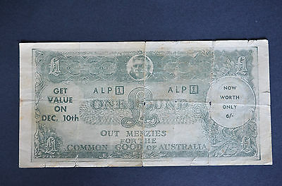 Rare Australian Labor Party Alp Political 1 Pound Note Funny Money Menzies Out